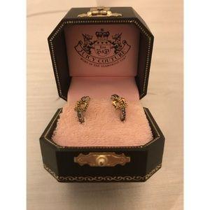 Juicy Couture Pierced Gold Crown Huggie Earrings